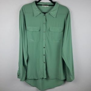 TWO by VINCE CAMUTO Green Silk Blouse Size Large